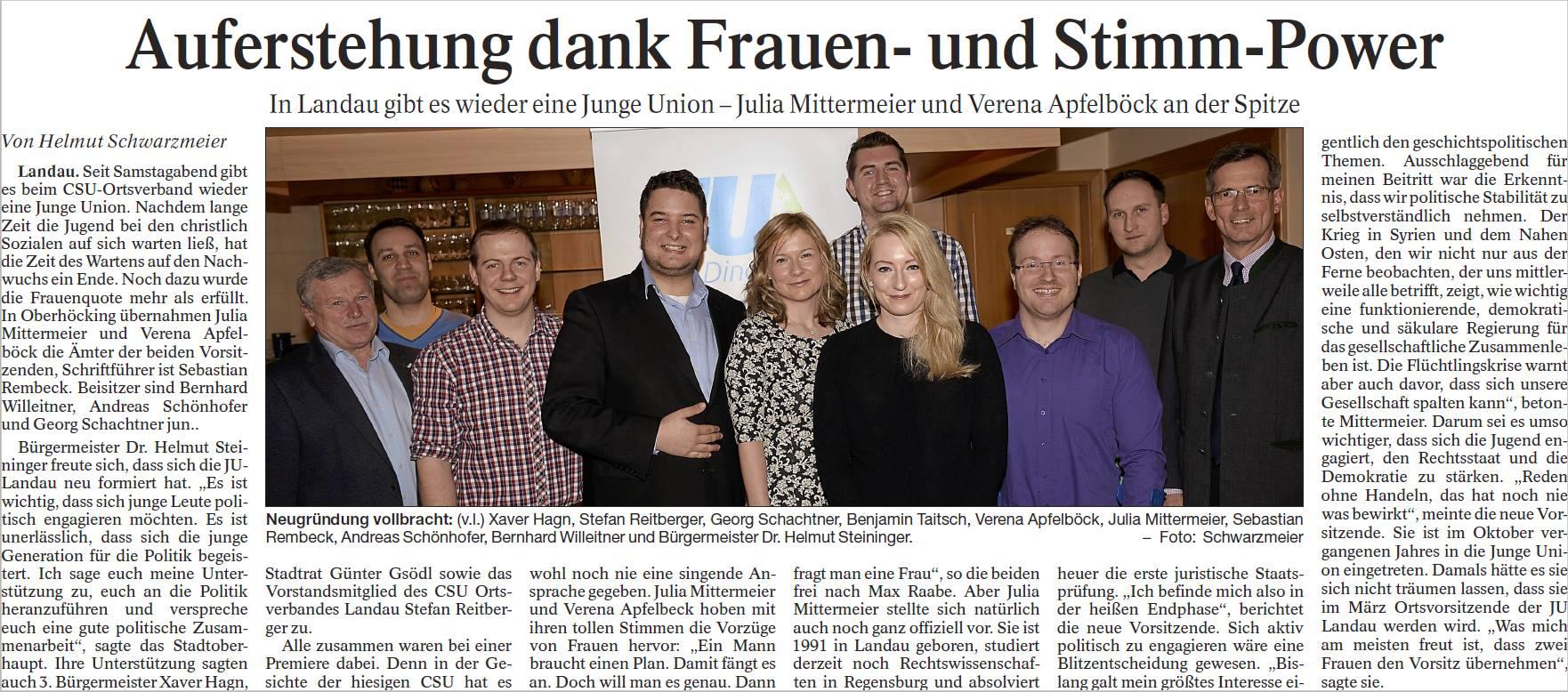 Neuaufstellung JU Landau a.d. Isar - Vielen Dank an die Landauer Neue Presse für den schönen Artikel vom 14.03.2016