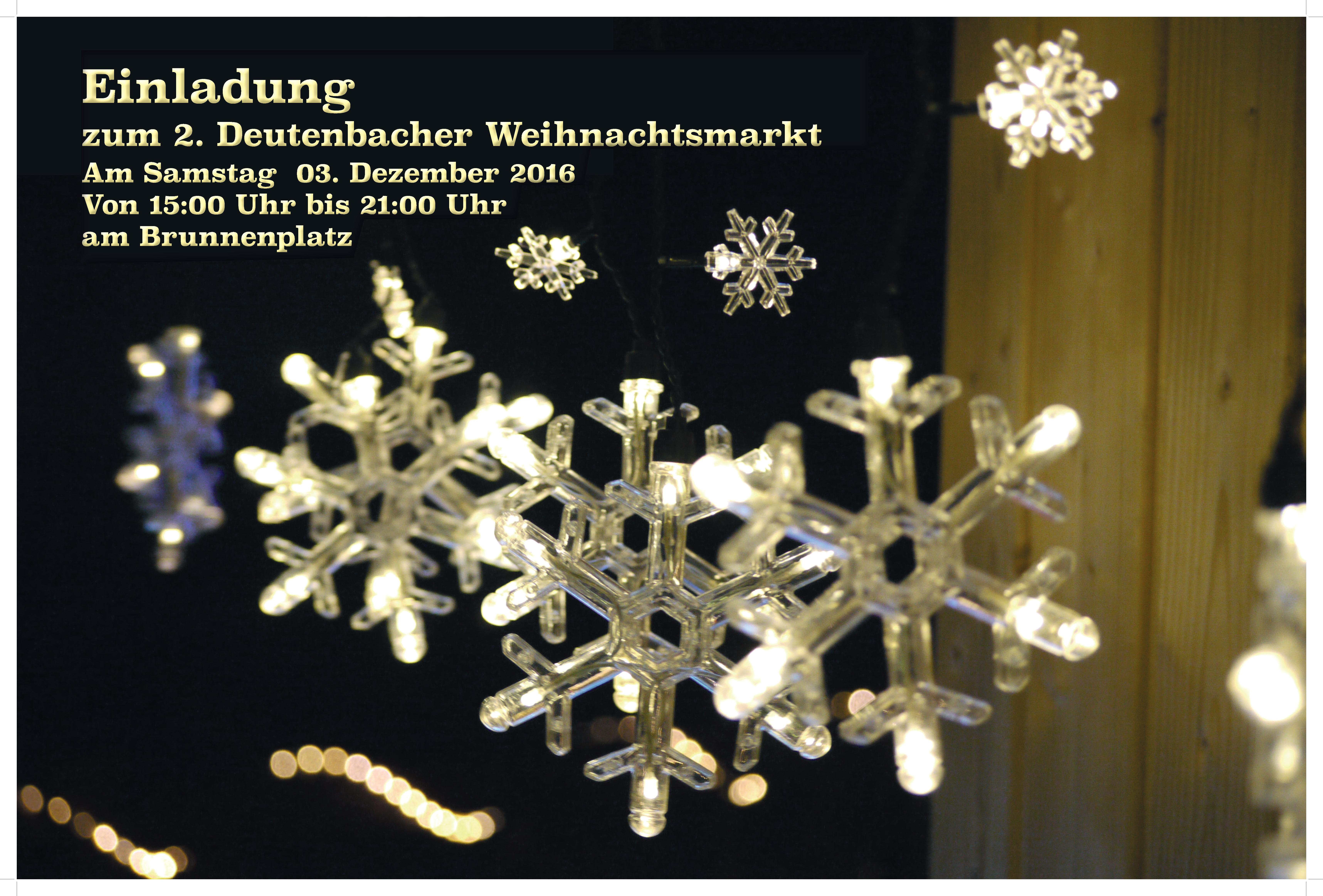Herzliche Einladung zum 2. Deutenbacher Weihnachtsmarkt